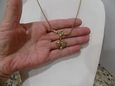 Black Hills Gold Jewelry Tri Color 12k GOLD Grape Leaves Flowers Dangle Necklace