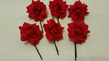 6 ROSE FLOWER HAIR GRIP KIRBY PINS  WEDDING BRIDESMAID PARTY