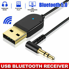 Wireless USB Bluetooth Audio Receiver Adapter For Phone Home Car 3.5mm AUX Cable