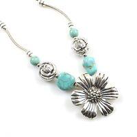 Women Boho Chain Jewelry Flower Shape Turquoise Pendant Tibetan Silver Necklace