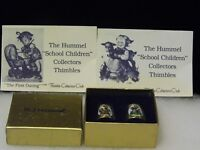 "Vintage Hummel 2 Thimbles Gold West Germany School Children ""Goat Girl Boxed"