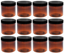 Amber Jars 2oz w/Lids, 12 Pack, Round PET Plastic Jar Container & Blank Labels