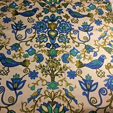 Vtg MCM Blue Bird Flowers Dupont Savalux Flower Print Upholstery Fabric Material