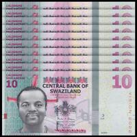 Lot 10 PCS, Swaziland 10 Emalangeni, 2015(2017), P-41, Banknotes, UNC