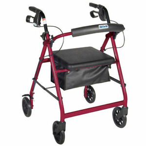 Drive 4 Wheel Rollator Walker Rolling Mobility Medical R726 Seat  NEW