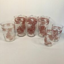 Vintage Tumblers Japanese Temple Boat Pink Federal Glass Mid Century Juice Water