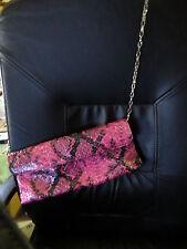 CARLOS FALCHI Pink Python Envelope Purse  Clutch Handbag Chain 821-650 NWOT!