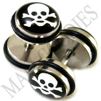 0001 Fake Cheaters Faux Illusion Plugs 16G Bar Look 0G 8mm Skull & Bones PAIR