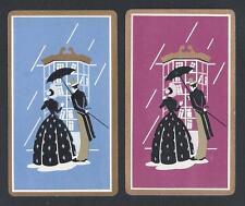 #150.054 vintage swap card -EXC pair Ladies Bridge Cards- Couple shop in rain