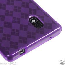 LG Optimus G E970 AT&T Candy Skin Cover Soft Case Accessory Purple Checker