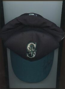 2001 All Star Game Lou Piniella Seattle Mariners Dark Teal Hat / Cap Autogr Holo