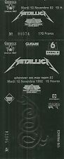 RARE / TICKET BILLET CONCERT - METALLICA : LIVE A PARIS FRANCE 1992 / LIKE NEW