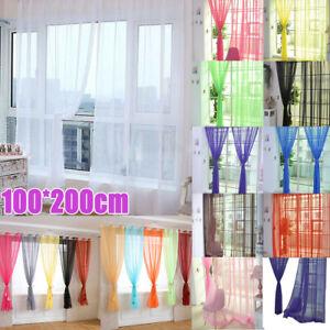 Voile Window Screening Net Curtains Plain Garden Patio Door Valance Sheer Tulle