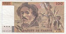 France. Beau billet de 100 francs Delacroix de 1995 sans trou. Alphabet R.292