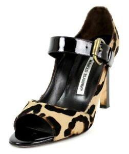 MANOLO BLAHNIK Leopard Pony Fur & Brown Patent Mary Jane Pumps 37.5