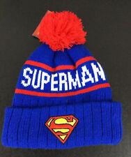 Superman Beanie Hat DC Comics Boys Men Red Blue White NWT Logo Patch Pom Cuff