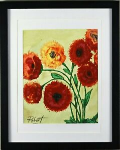 Red Poppies Painting Art Print Hand Embellished Signed Robert COA - Framed