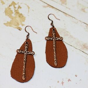 Copper Cross & Brown Leather Dangle Earrings