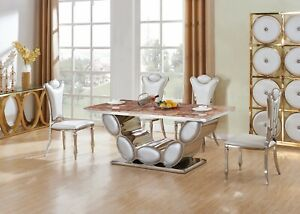 Silver Real Marble Dining Table Set and 6 Air Leather Chairs Kitchen Furniture