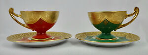 Pair Art Deco Epiag Demitasse Cups & Saucers