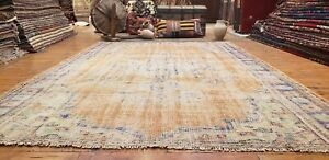 "Primitive Antique Cr1900-1939's Muted Natural Dye Wool Pile Oushak Rug 6'3""x9'"