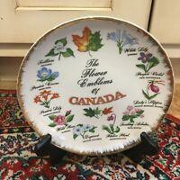"VINTAGE GIFTCRAFT SOUVENIR FLOWER EMBLEMS PROVENCES OF CANADA 8"" PLATE ATOMIC EU"
