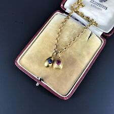 Antique Russian two EGGs Charm Sapphire Chain, 19century