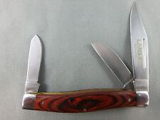 Lansky 3 blade medium stockman with polished hardwood handles