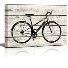 Bicycle/Bike Silhouette Artwork - Rustic Canvas Wall Art Home Decor - 16x24