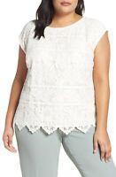 Vince Camuto Women's Extend Shoulder Border Lace Blouse Ivory M Size Macy's
