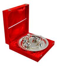 Traditionall Gold Plated Brass Pooja Thali Silver Plated 7 Pcs Set Pooja Thali