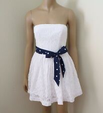 NWT Abercrombie Womens Lace Strapless Dress Size Small White Polka Dot Bow Sash