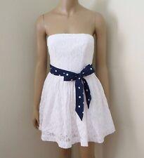 NWT Abercrombie Womens Lace Strapless Dress Size Small White Polka Dot Bow Sash