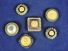 Set of 6 Old World Coins Antiqued Money Metal Snap on Button Covers