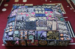 "Indien square 35"" Vintage Blue cotton patchwork heavy duty ottoman puff cover"