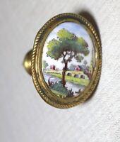 antique 18th century English painted porcelain gilt brass curtain tieback rod