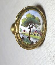 antique 18th century English painted porcelain gilt brass curtain tieback rod