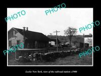OLD LARGE HISTORIC PHOTO OF LOCKE NEW YORK, THE RAILROAD DEPOT STATION c1900