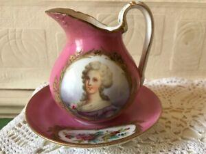 18th Century Sevres Porcelain Jug & Saucer Portrait Madame Elisabeth 1788