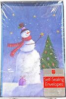 Snowman Christmas Tree Glitter Holiday Cards 20 count New