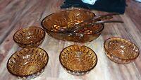 Vintage Amber Indiana Depression Glass Fruit Bowl Grape Pattern 4 Bowls 2 Servin