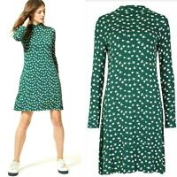 New Ladies M&S Marks And Spencer Green Floral Jersey Swing Day Skater Tea Dress