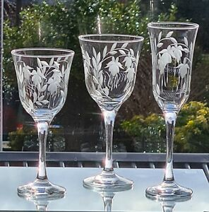 1x Elegant Hand Cut  Cascade Design Tall Champagne Glass(All Dull Cutting)Stuart