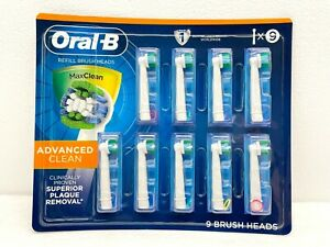 Oral-B Max Advanced Clean Replacement Refill Brush Heads 9 Count - New Sealed