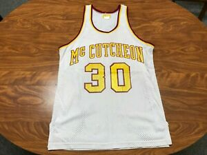 VINTAGE 80'S POWERS MCCUTCHEON HIGH SCHOOL INDIANA GAME USED BASKETBALL JERSEY