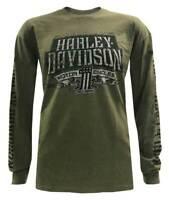 Harley-Davidson Men's Distressed Highmark Long Sleeve Shirt - Military Green
