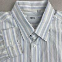 Hyden Yoo Button Up Shirt Mens XL White Blue Gray Long Sleeve Cotton Striped