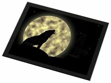 Howling Wolf and Moon Black Rim Glass Placemat Animal Table Gift, AW-7GP