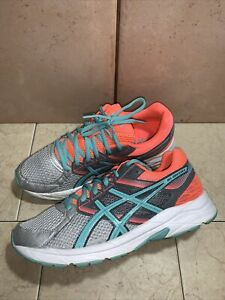 ASICS Gel-Contend 3 Athletic Running Shoes -T5F9N - Gray/Pink/Blue - Women's 8.5