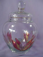 Lotus Flowers Covered Apothecary Candy Jar Clear Glass Gold Trim 8 Inches Tall